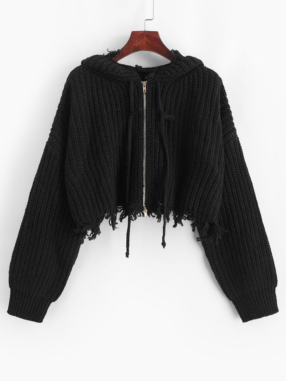 Women's Hooded Zip Up Distressed Cropped Cardigan - Black M