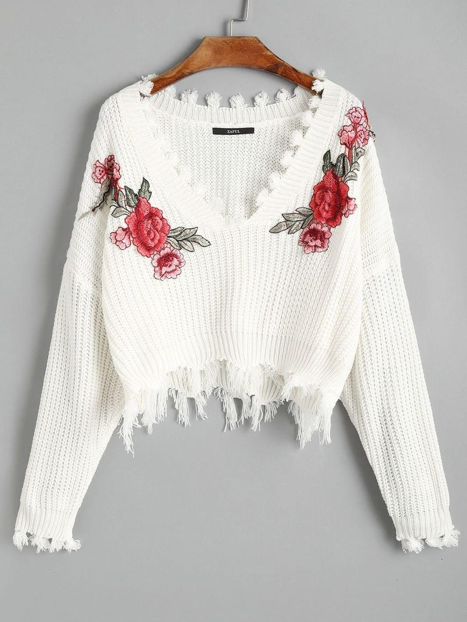 Women's V Neck Frayed Floral Embroidered Pullover Sweater - White