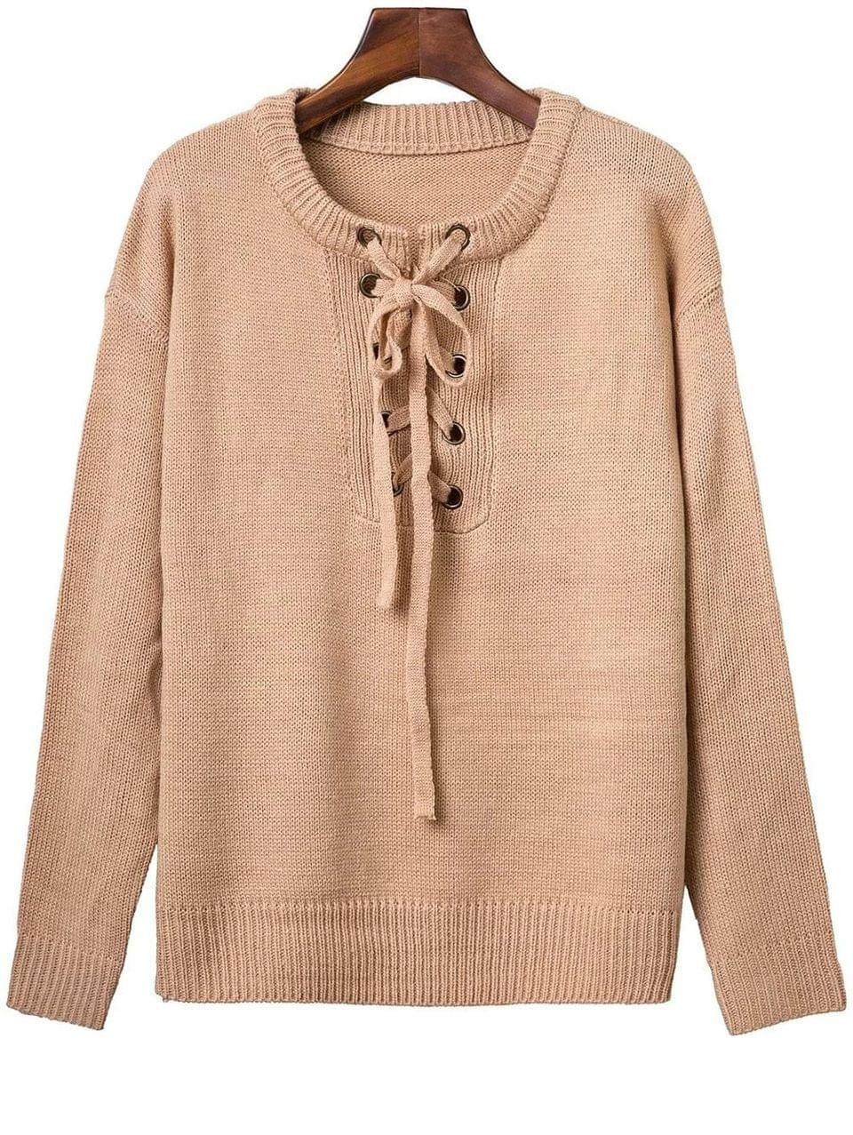 Women's Solid Color Long Sleeve Lace Up Sweater - Apricot