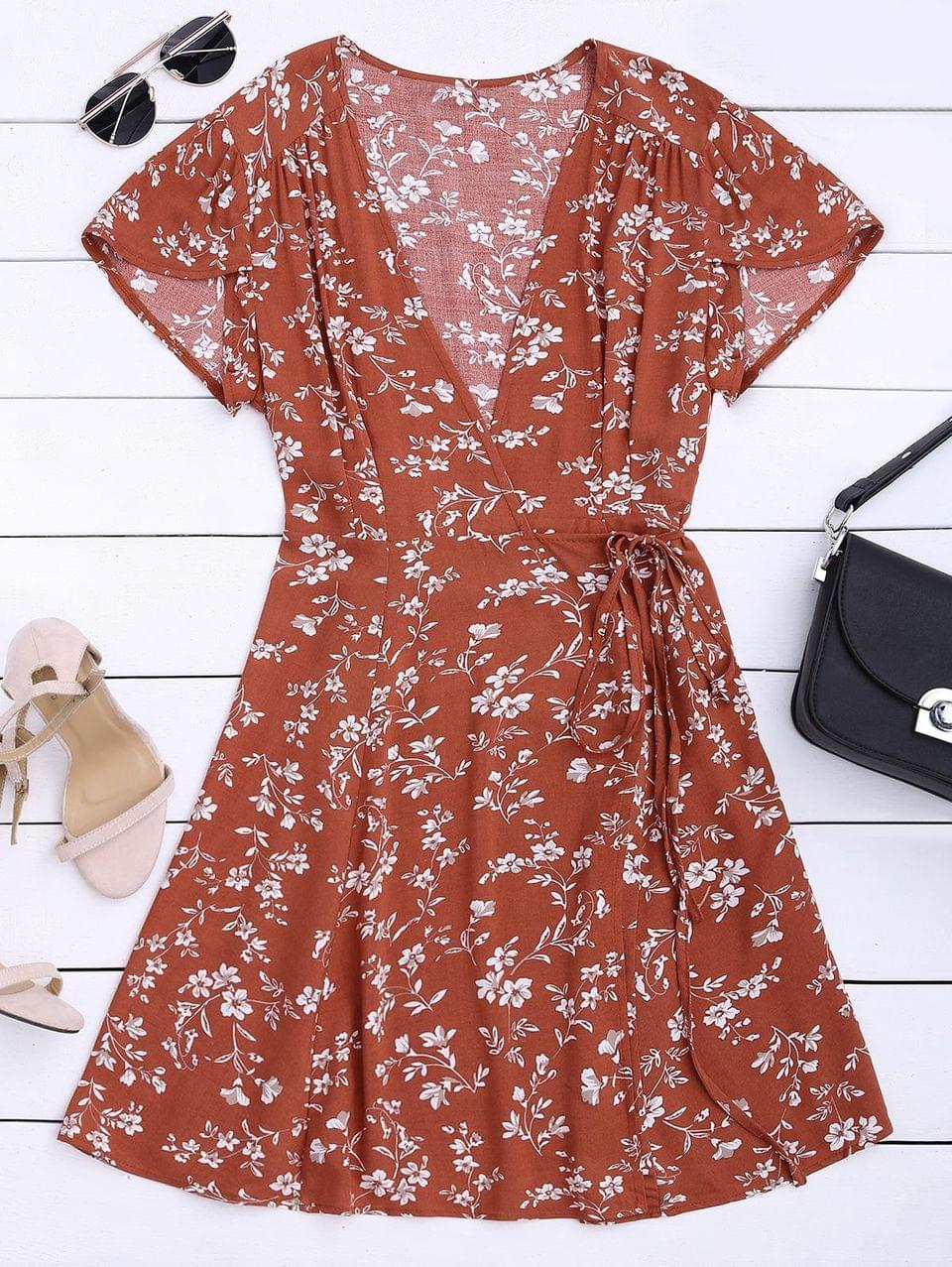 Women's Floral Print Self Tie Wrap Dress - Floral L