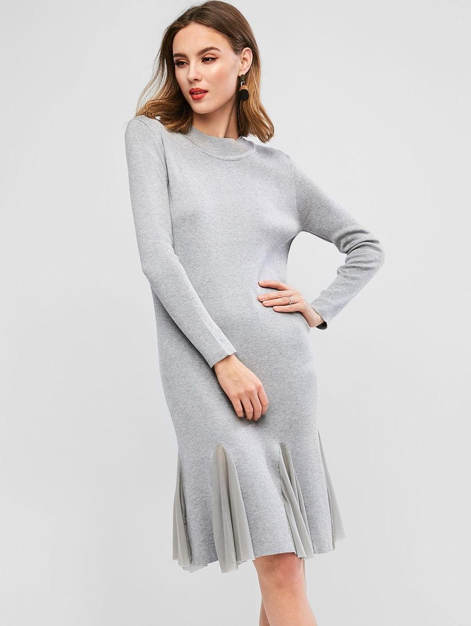 Women's Long Sleeve Mesh Panel Flounced Hem Sweater Dress - Gray
