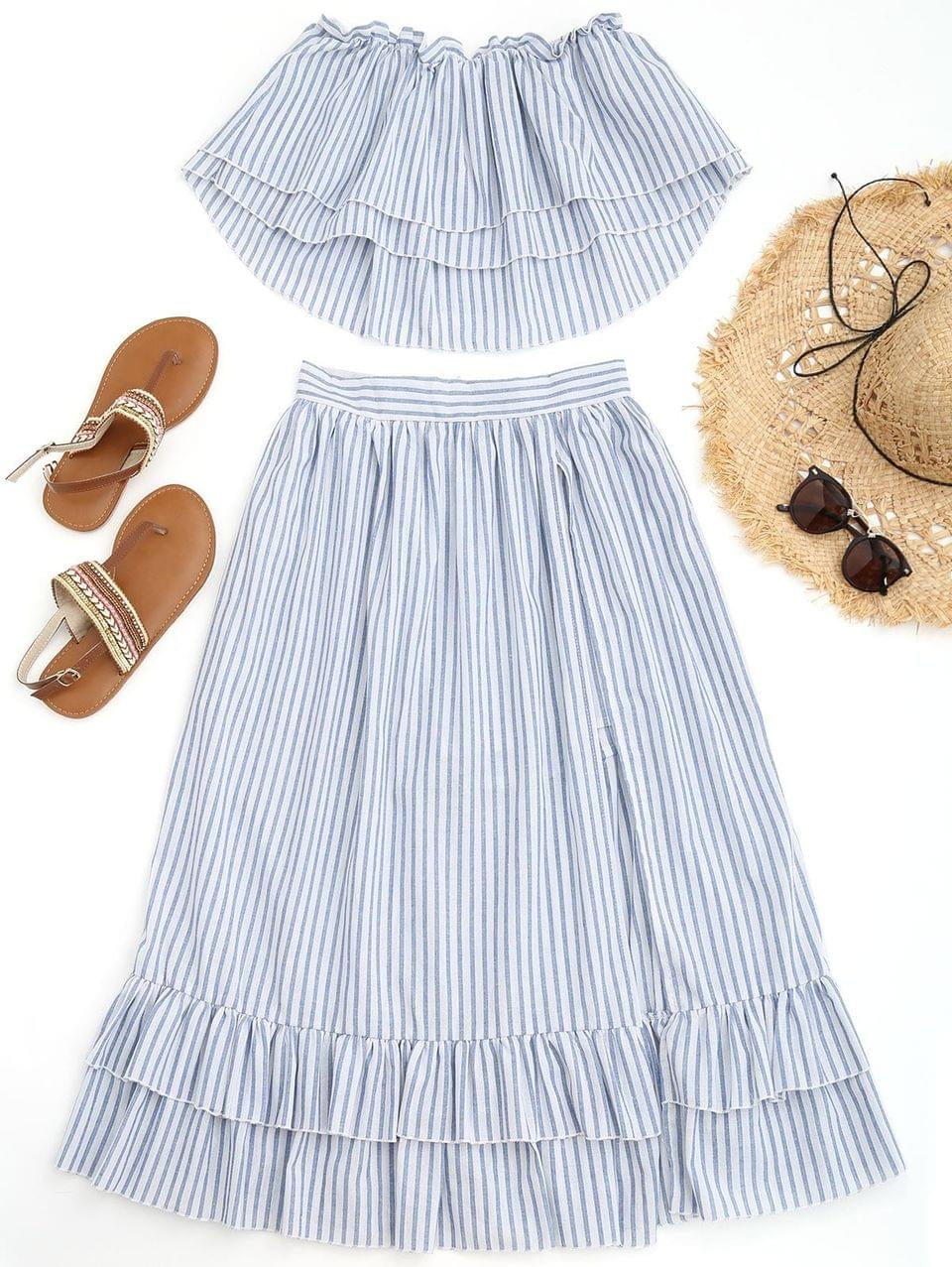 Women's Off Shoulder Striped Top With Overlay Maxi Shorts - Blue And White S
