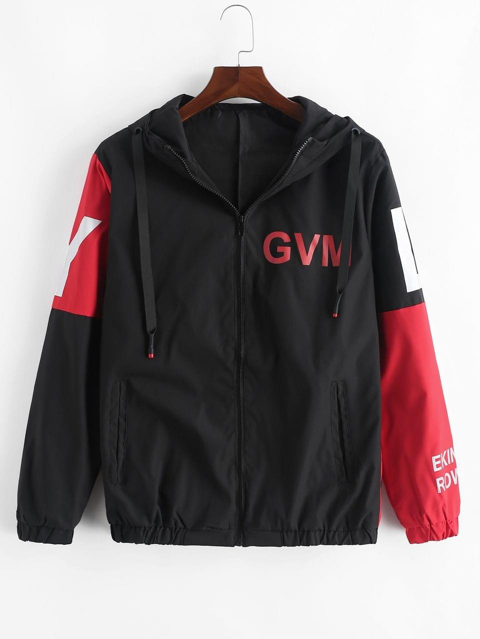 Men's Letter Graphic Colorblock Splicing Hooded Jacket - Red 4xl