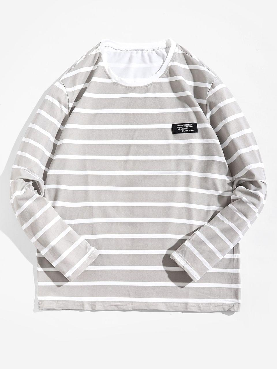 Men's Long Sleeve Striped Label Design T-shirt - Light Gray L