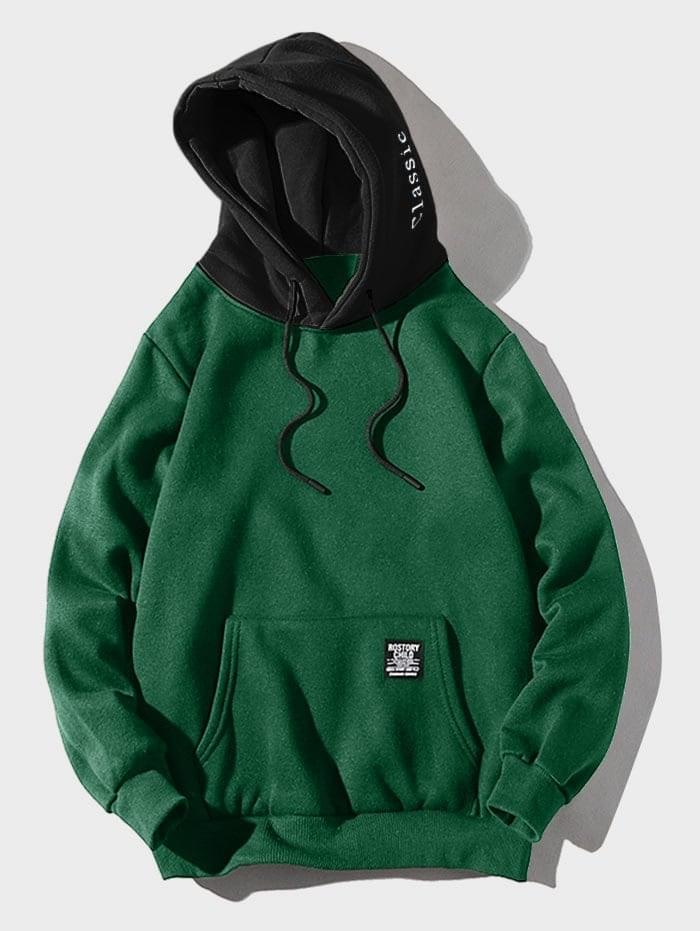 Men's Color-blocking Letter Patch Detail Pouch Pocket Fleece Hoodie - Medium Sea Green Xs