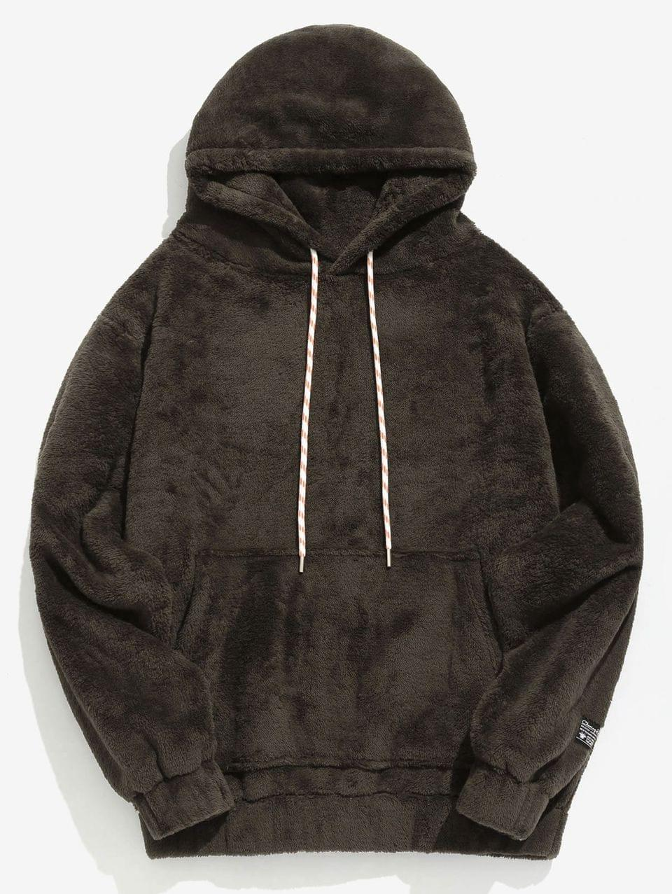 Men's Solid Pouch Pocket Fluffy Hoodie - Taupe S