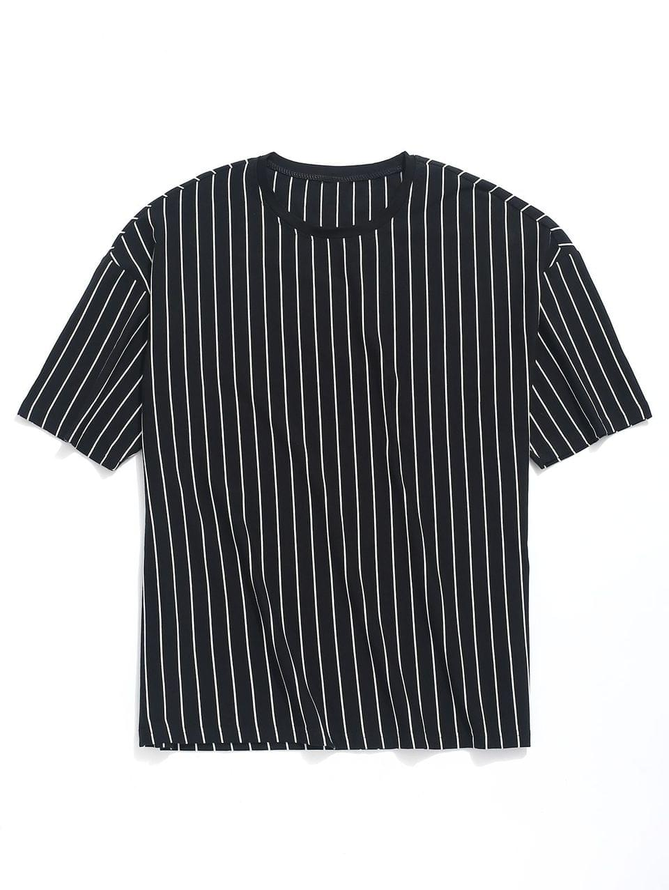 Men's Striped Print Drop Shoulder T-shirt - Black Xl