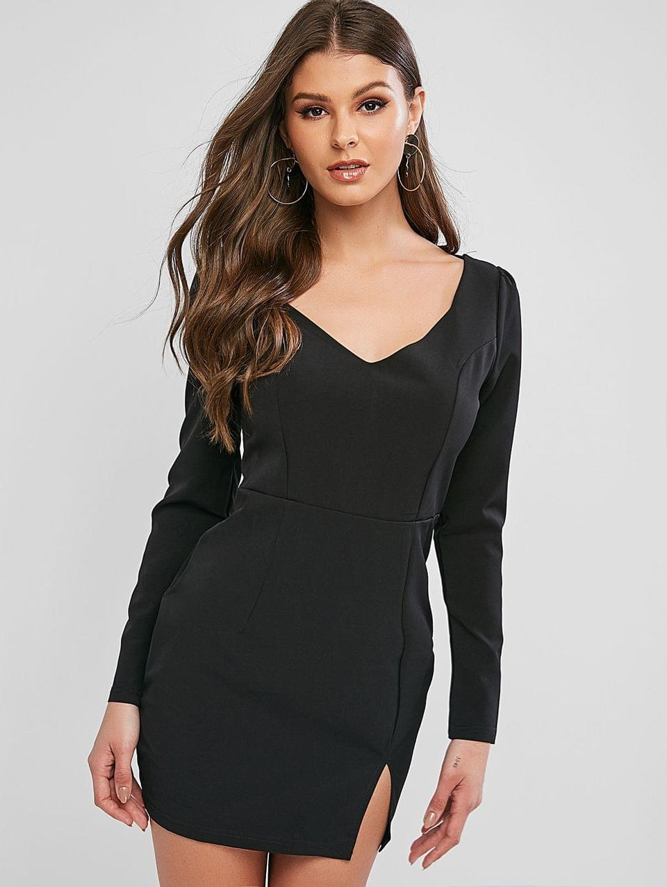 Women's V Neck Slit Solid Sheath Dress - Black M