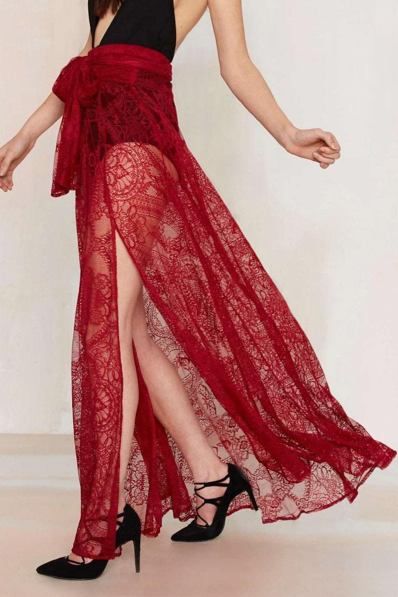 Women's See-Through High Waisted Red Lace Skirt - Red L