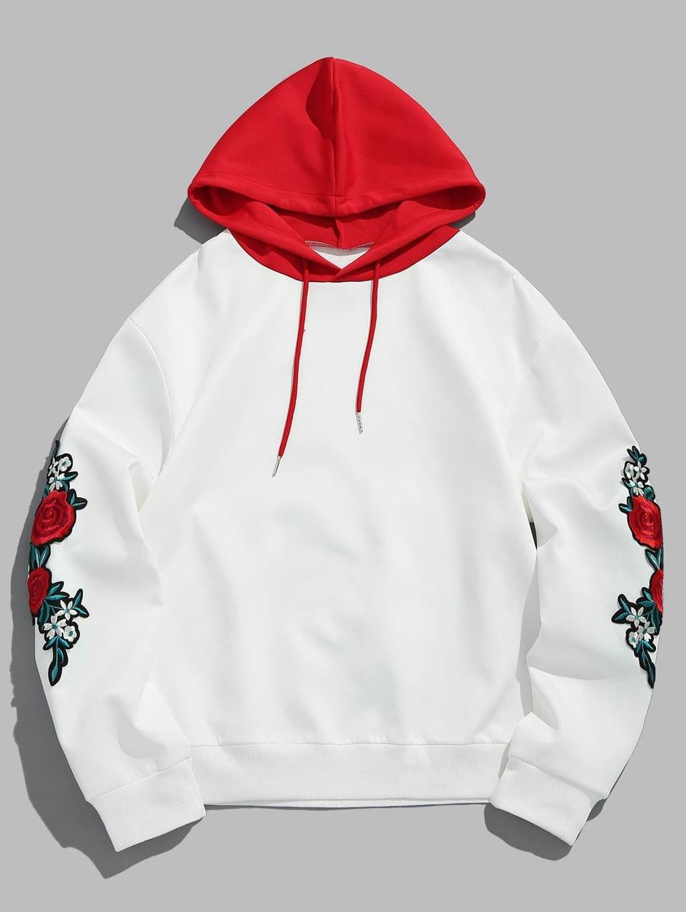 Men's Flower Embroidery Applique Sleeve Drawstring Hoodie - Love Red S
