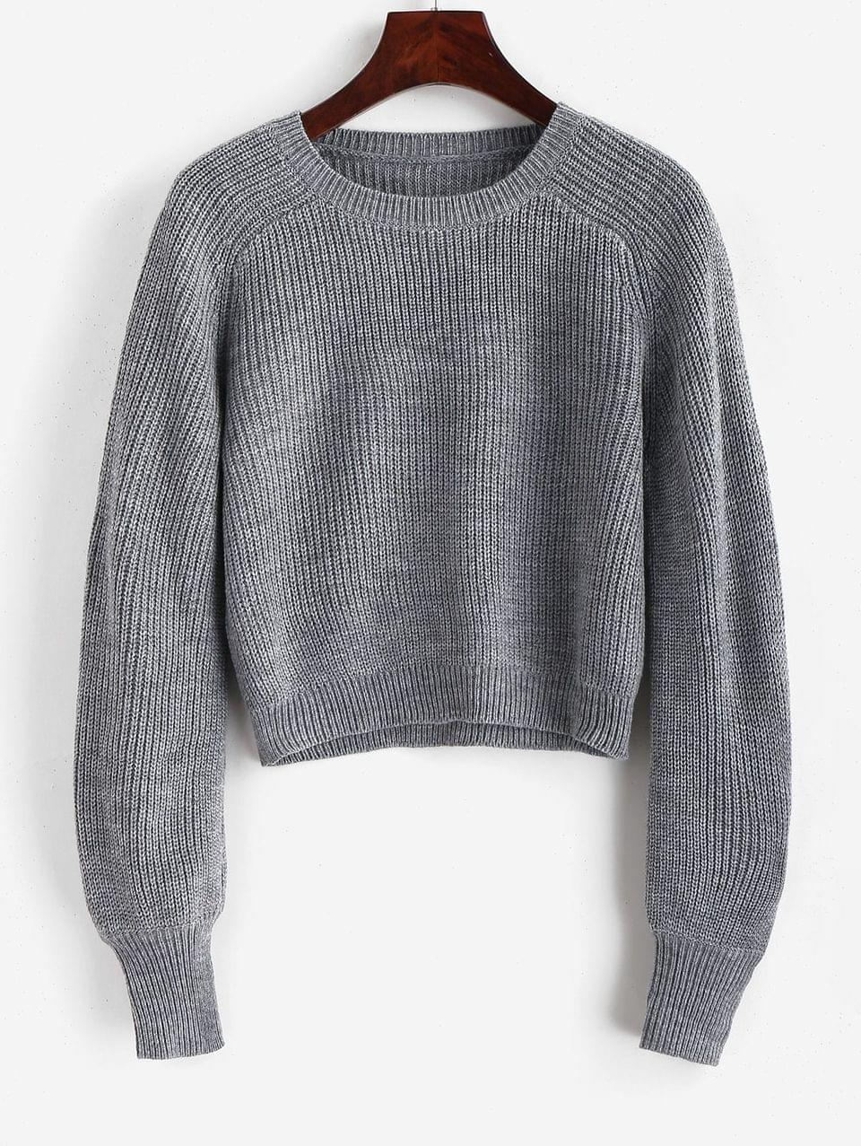 Women's Raglan Sleeve Crew Neck Pullover Sweater - Gray L