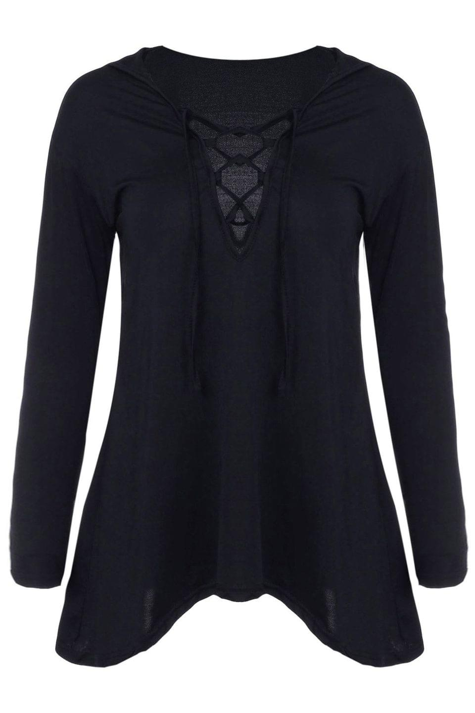 Women's Hooded Irregular Hem Black T-Shirt - Black S