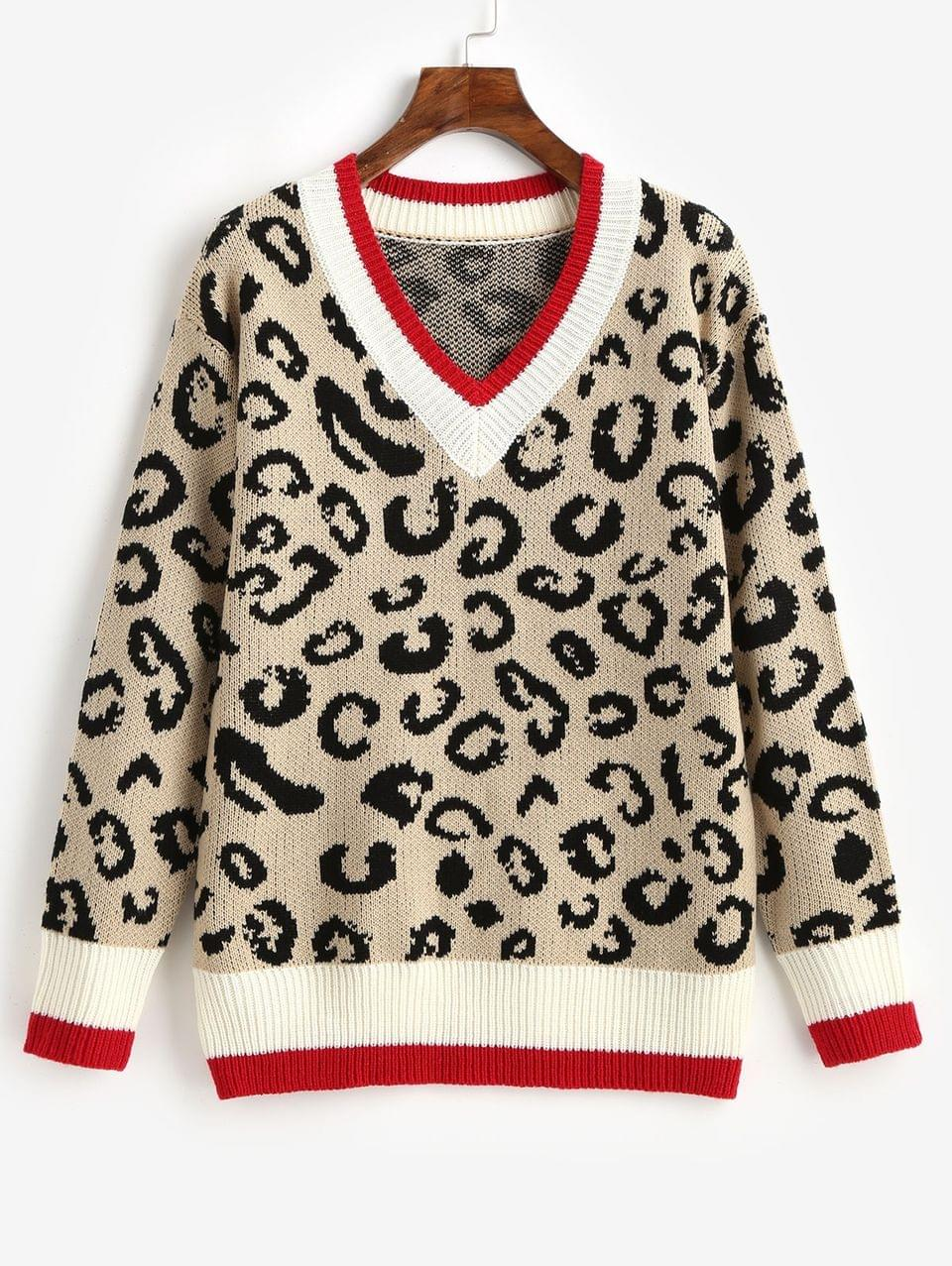 Women's Leopard Contrast Hem Cricket V Neck Sweater - Leopard