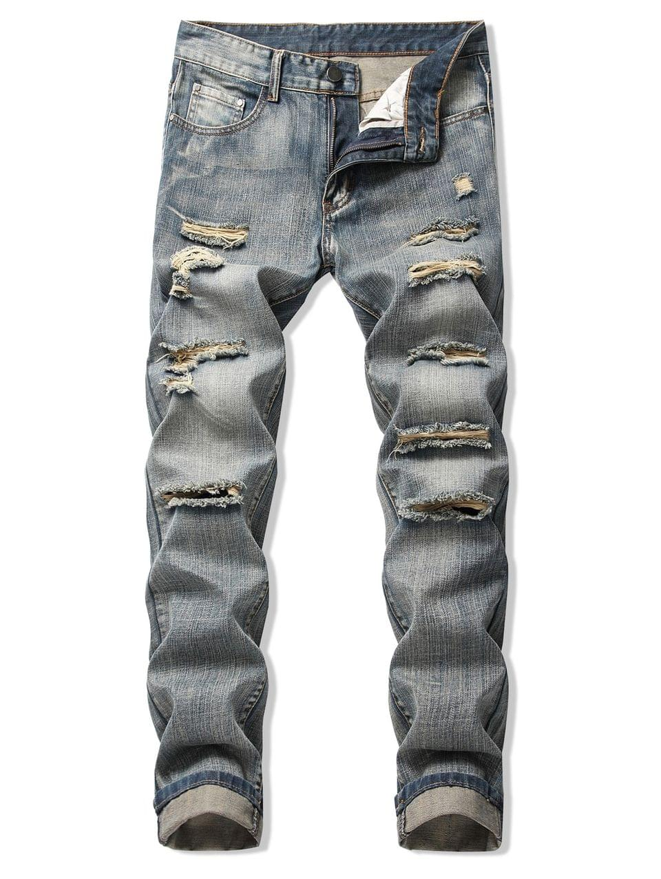 Men's Faded Wash Ripped Long Straight Jeans - Puce 32