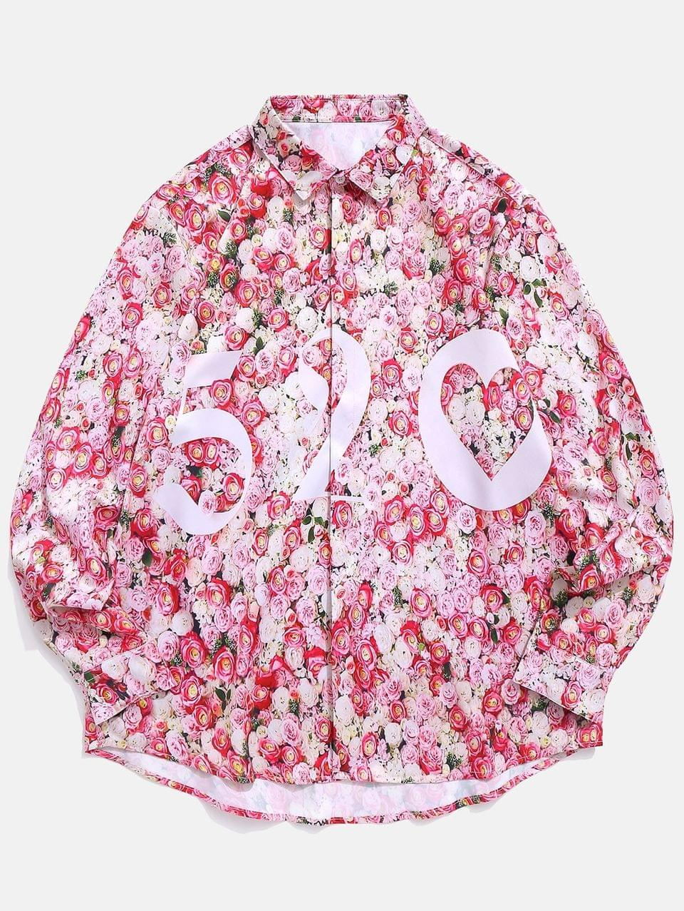 Men's Floral Print Valentine Shirt - Light Pink M