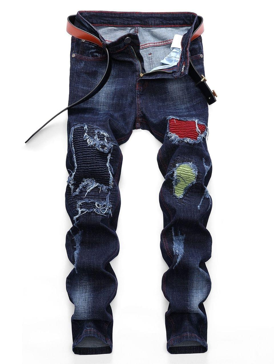 Men's Pleated Patchwork Scratch Long Straight Ripped Jeans - Denim Dark Blue 42