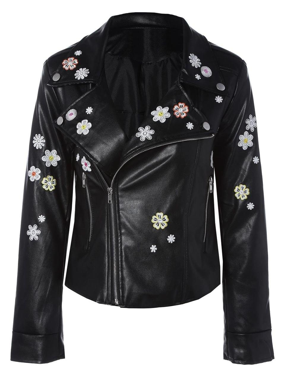 Women's Floral Embroidered Lapel Collar Faux Leather Jacket - Black M