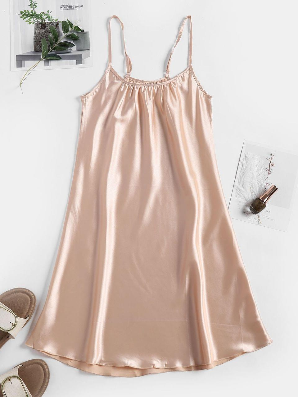 Women's Satin Adjustable Straps Night Dress - Apricot S