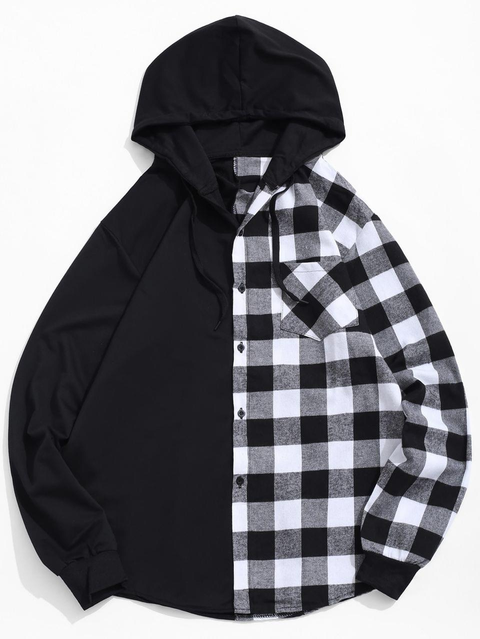 Men's Contrast Plaid Patch Pockets Hooded Shirt - White 2xl