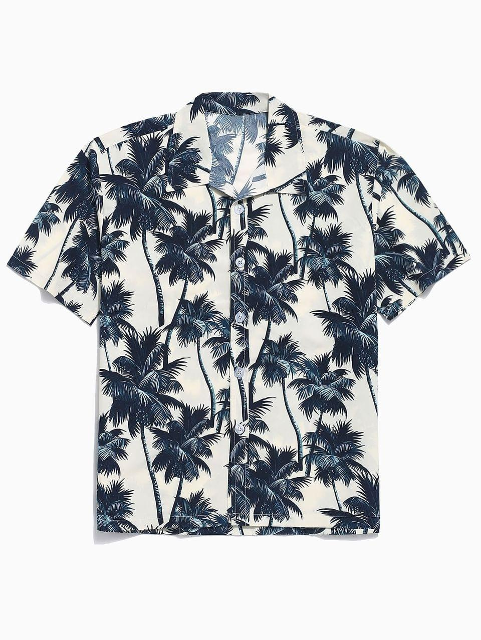 Men's Palm Tree Allover Print Hawaii Board Shirt - Apricot S