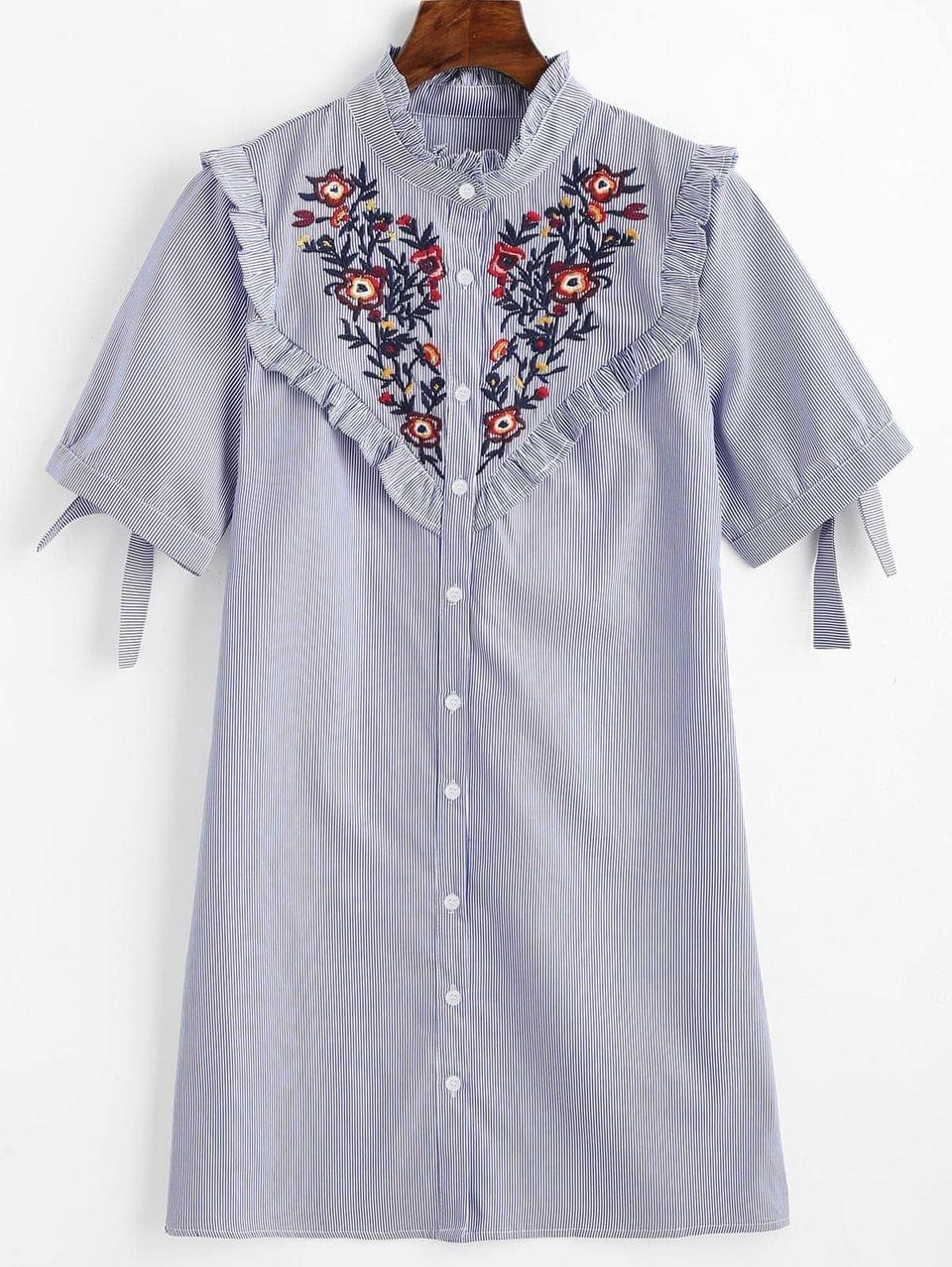 Women's Floral Patched Ruffles Striped Shift Dress - Blue S