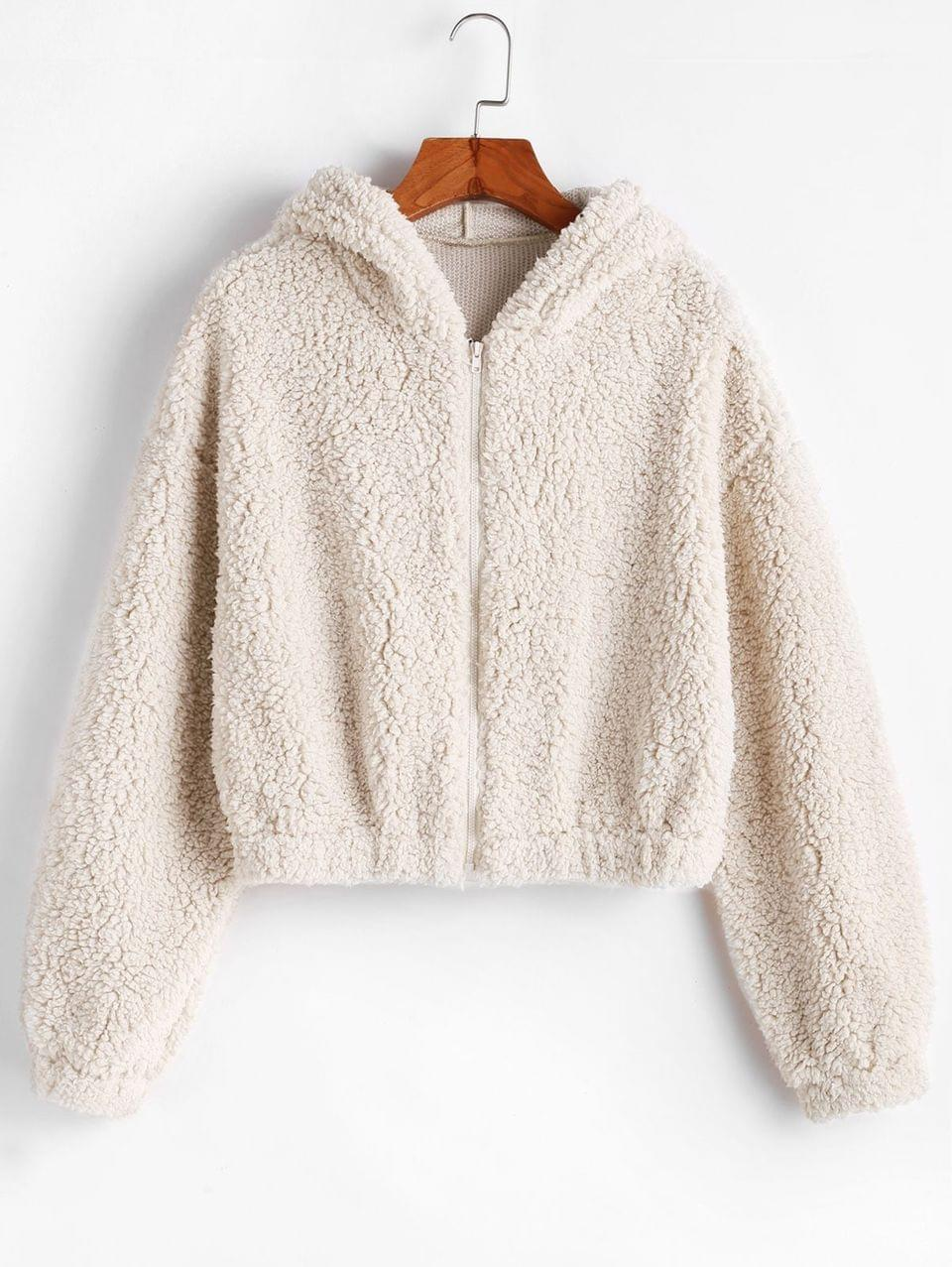 Women's Hooded Zip Up Fluffy Teddy Jacket - Milk White M
