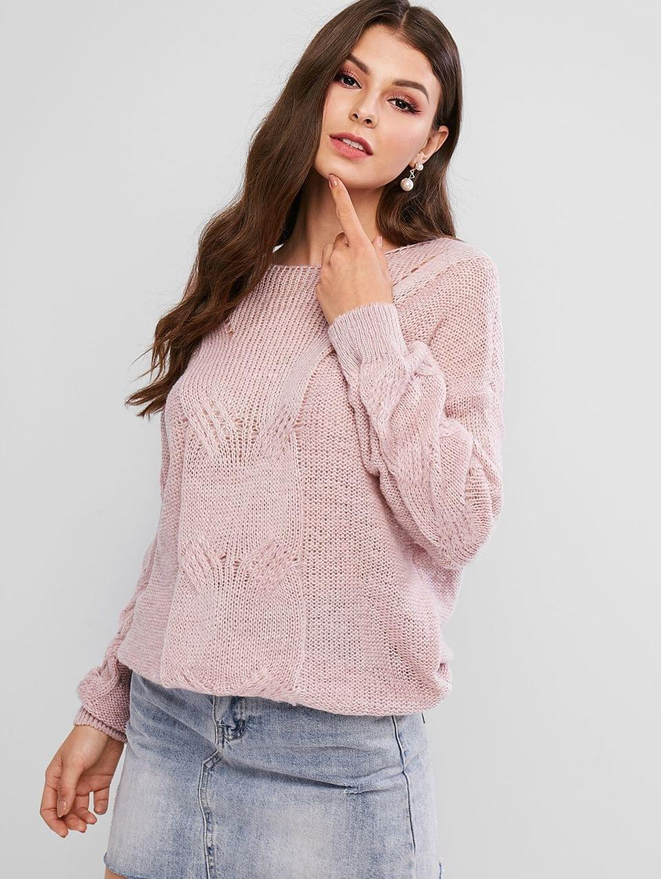 Women's Pointelle Knit Solid Loose Sweater - Rose