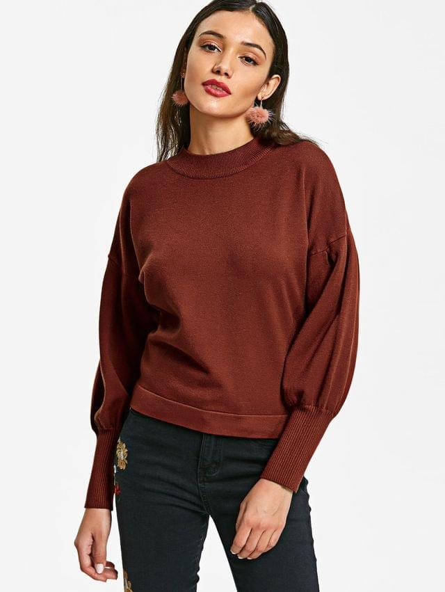 WOMEN Pullover Crew Neck Ribbed Cuffs Sweater - Brick-red