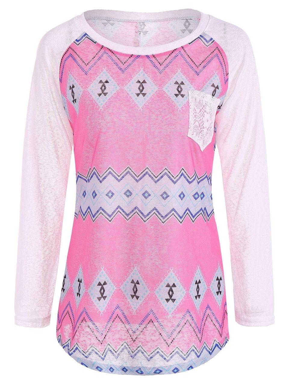 Women's Tribal Print Long Sleeve Pocket Tee - Rose + White S
