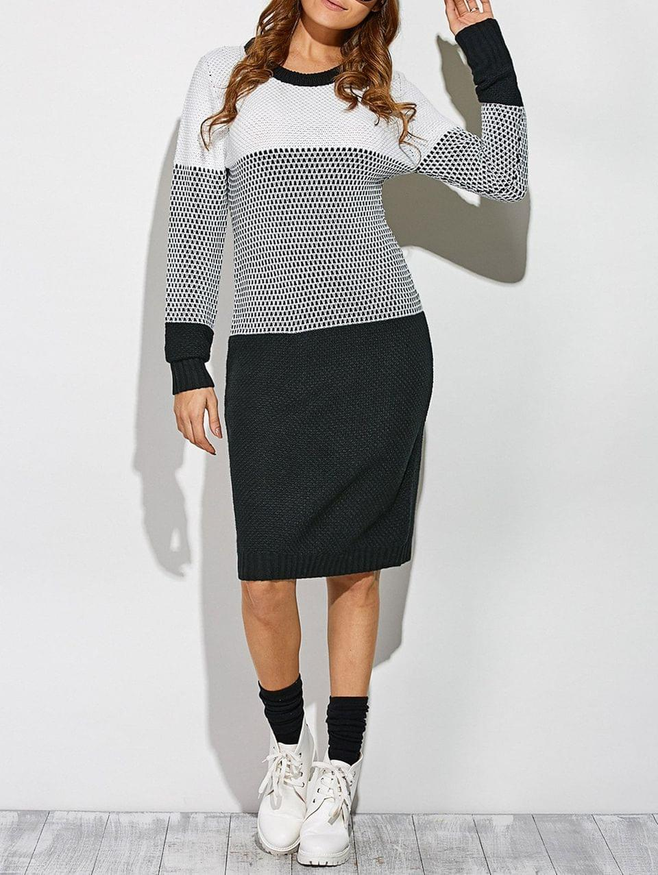 Women's Contrast Trim Sweater Dress - White And Black
