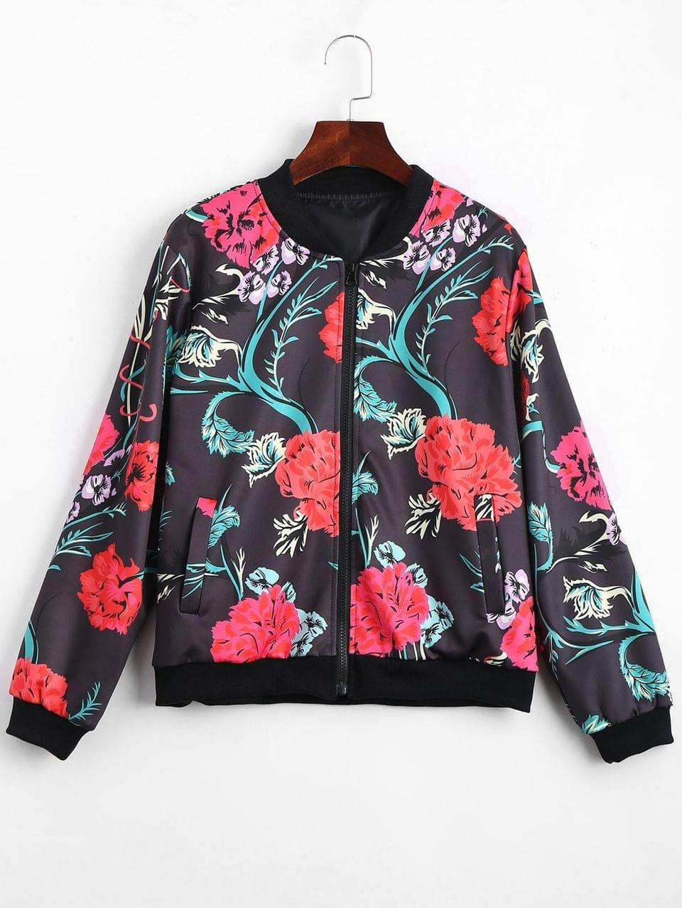 Women's Zip Up Floral Print Bomber Jacket - Floral L