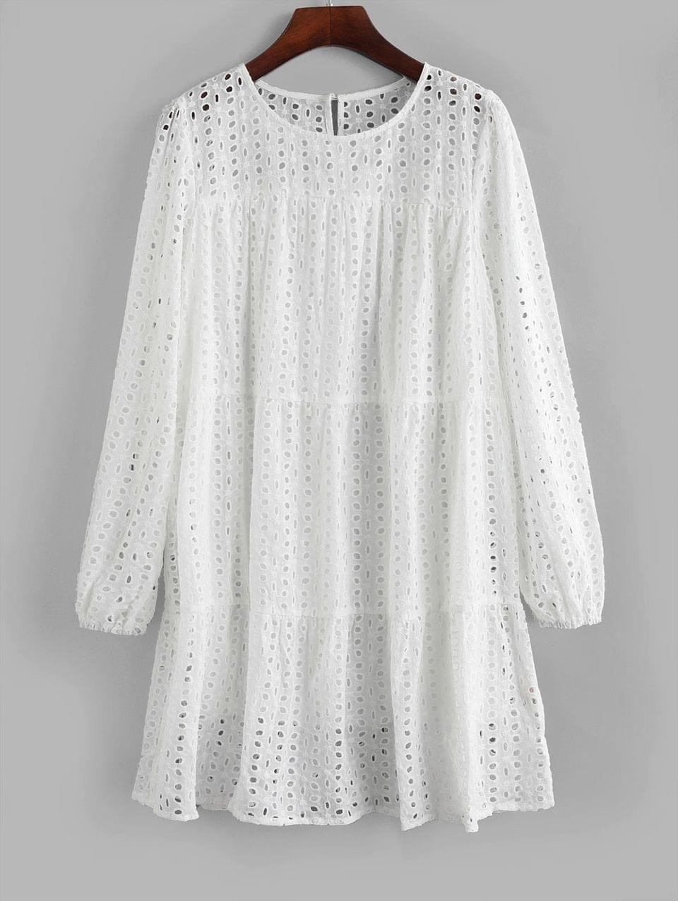 Women's Long Sleeve Eyelet Mini Straight Dress - White M