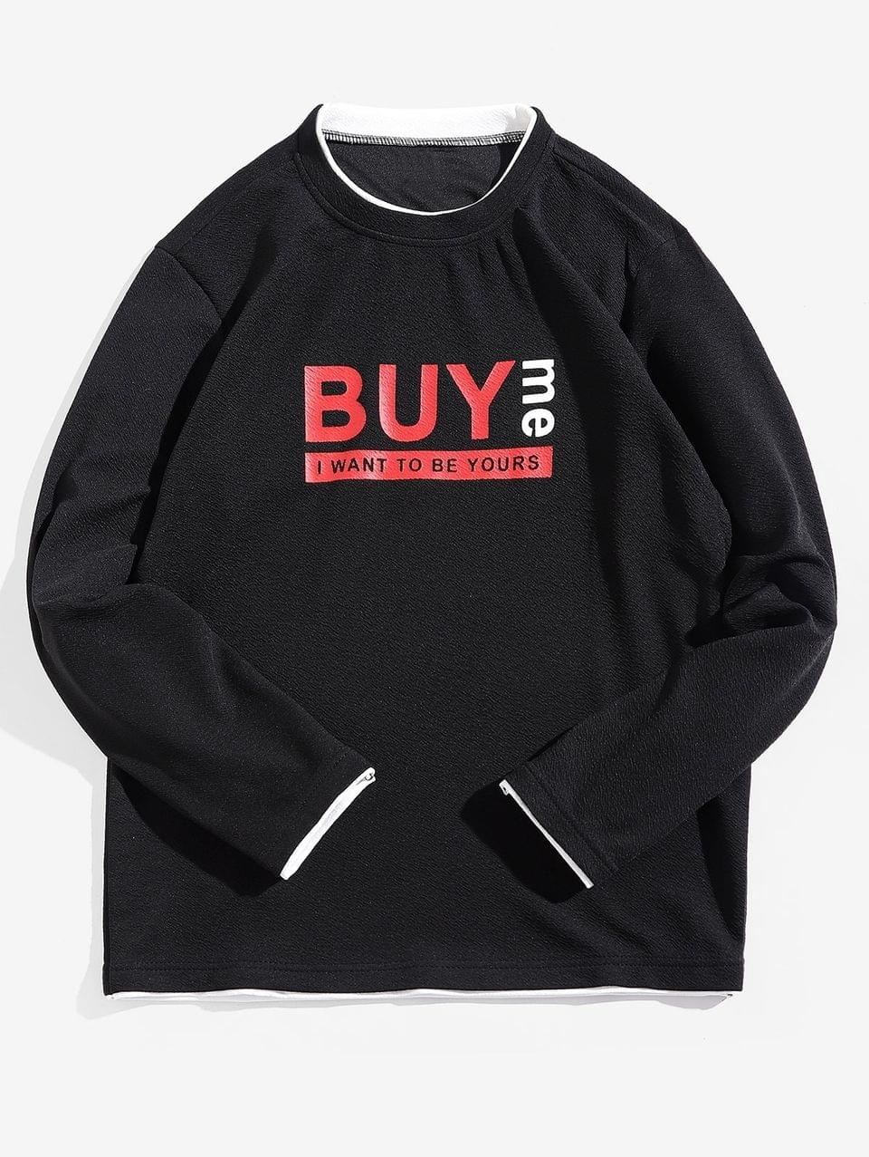 Men's Buy Me Letter Print Contrast Trim Spliced Sweatshirt - Black S