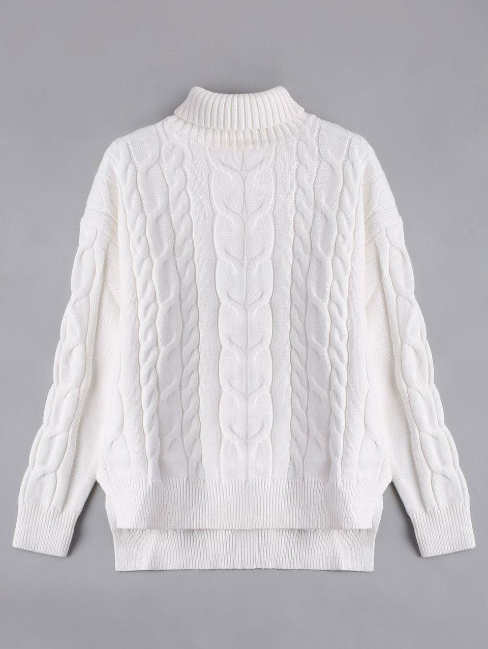 Women's High Low Turtle Neck Cable Knit Sweater - White S