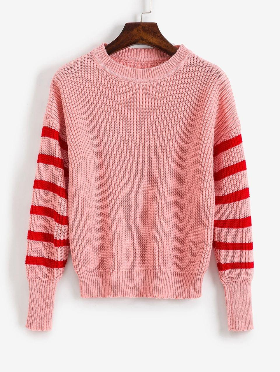 Women's Striped Cable Knit Sweater - Rose L