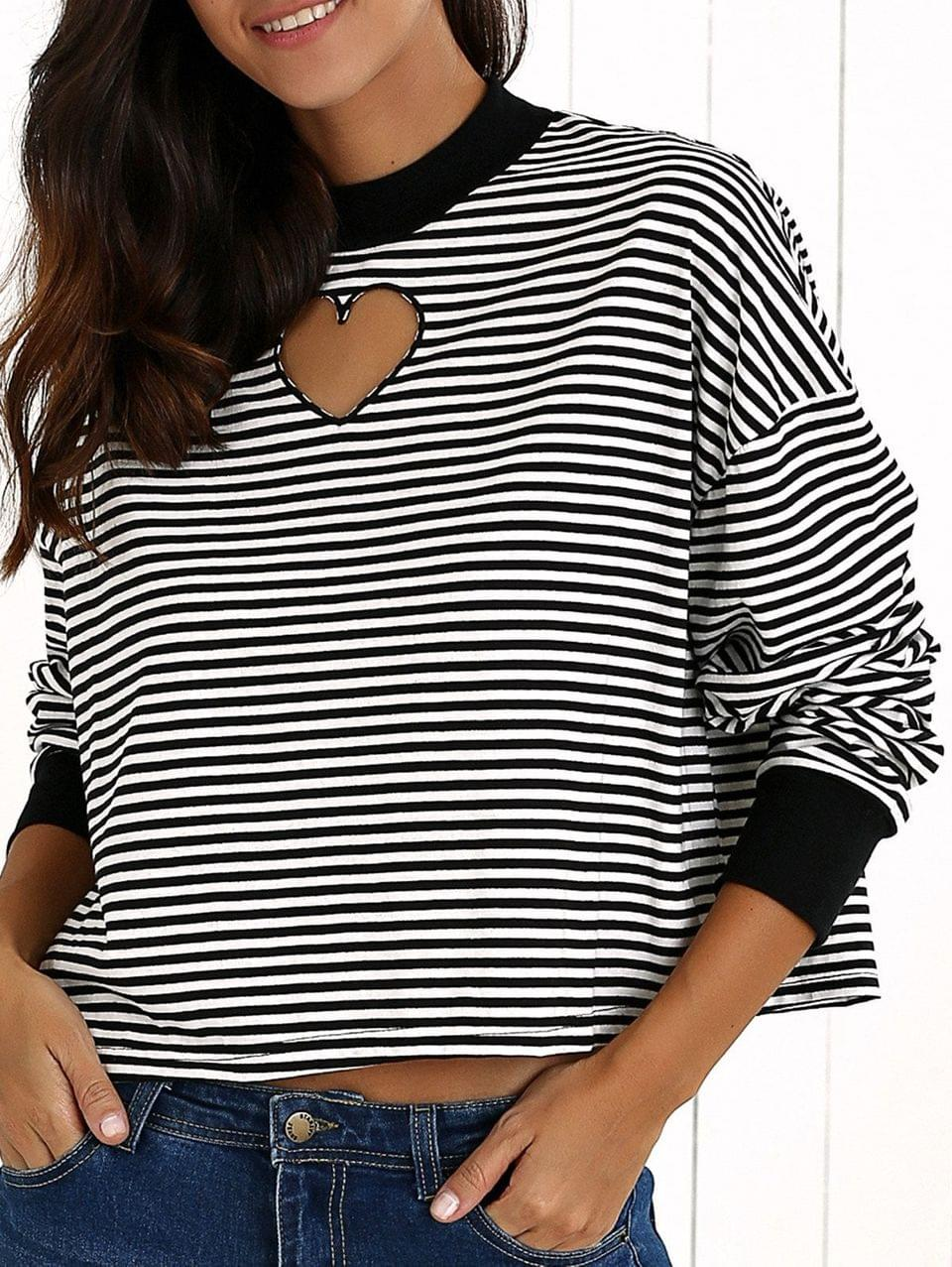 Women's Stripe Long Sleeve Cutout Sweatshirt - White And Black S