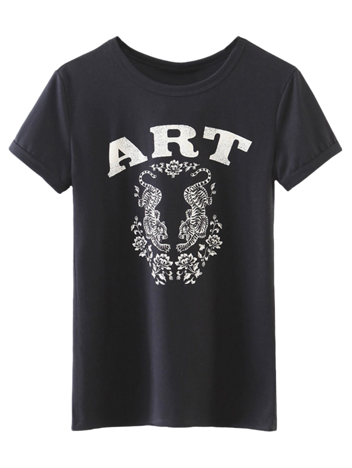 Women's Layering Totem Print T-Shirt - Black M