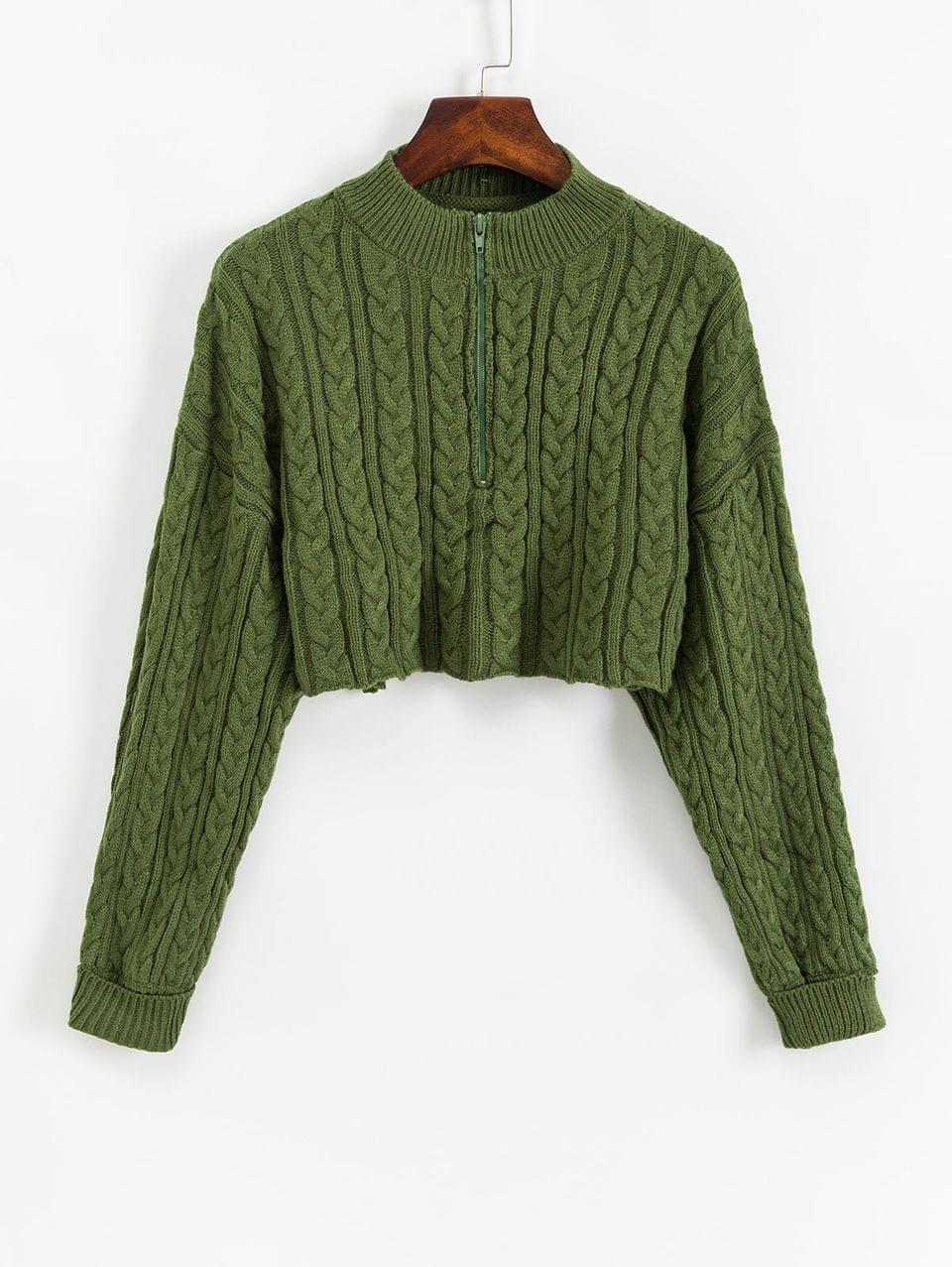 Women's Half Zip Cropped Cable Knit Sweater - Shamrock Green S