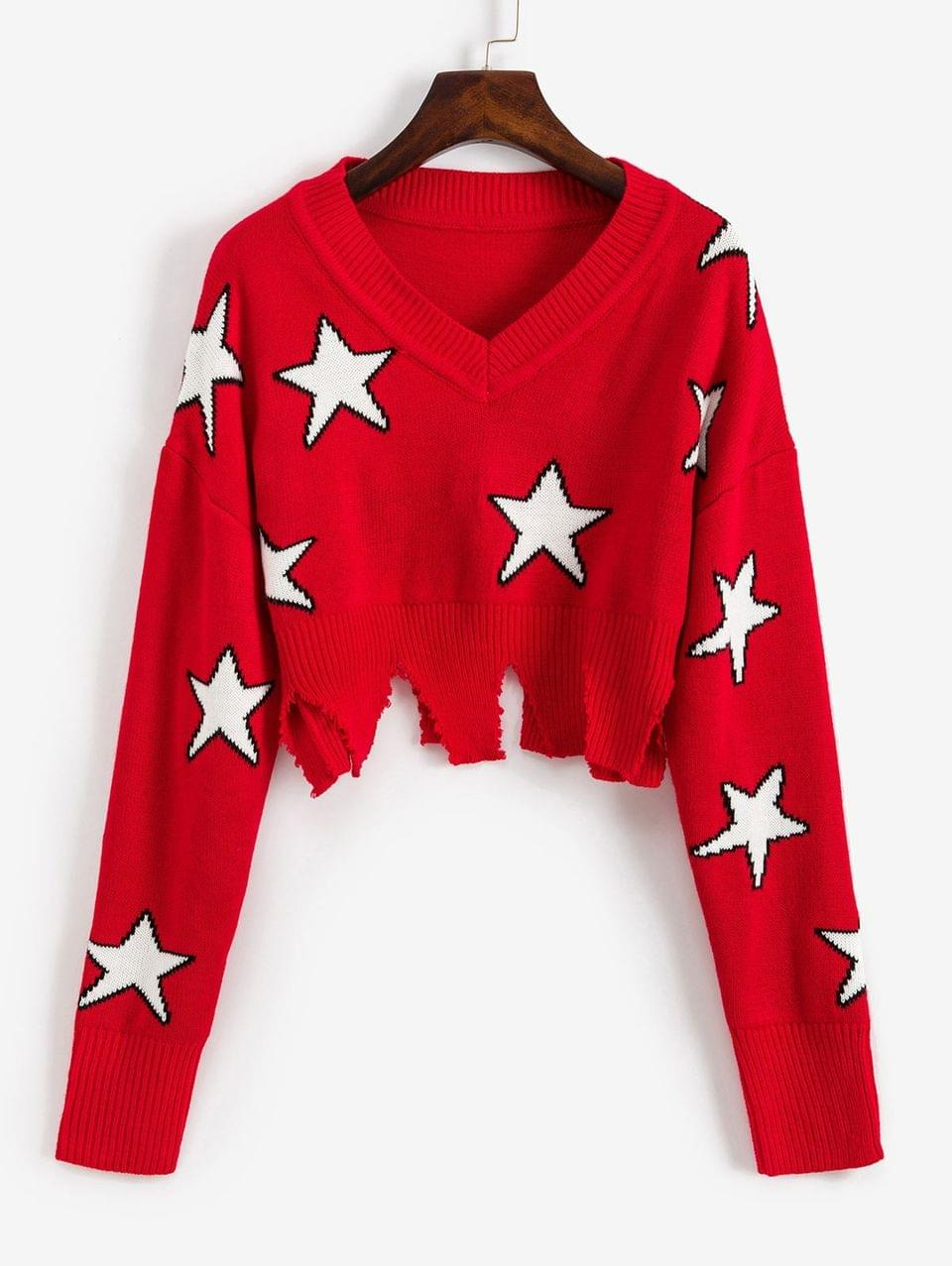 Women's Ripped Star Graphic Crop Sweater - Red S