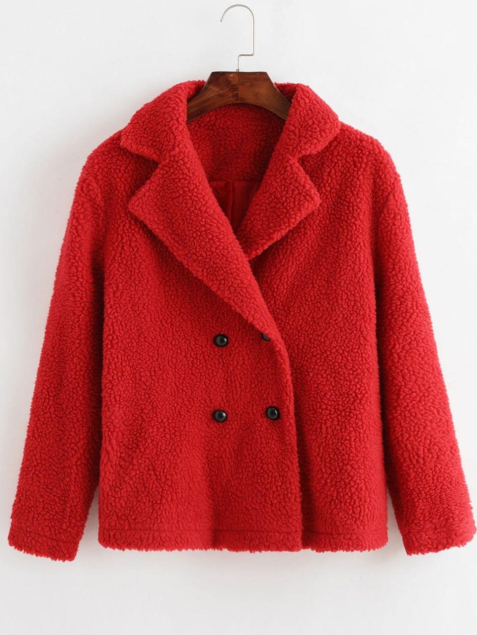 Women's Lapel Double Breasted Teddy Coat - Lava Red S