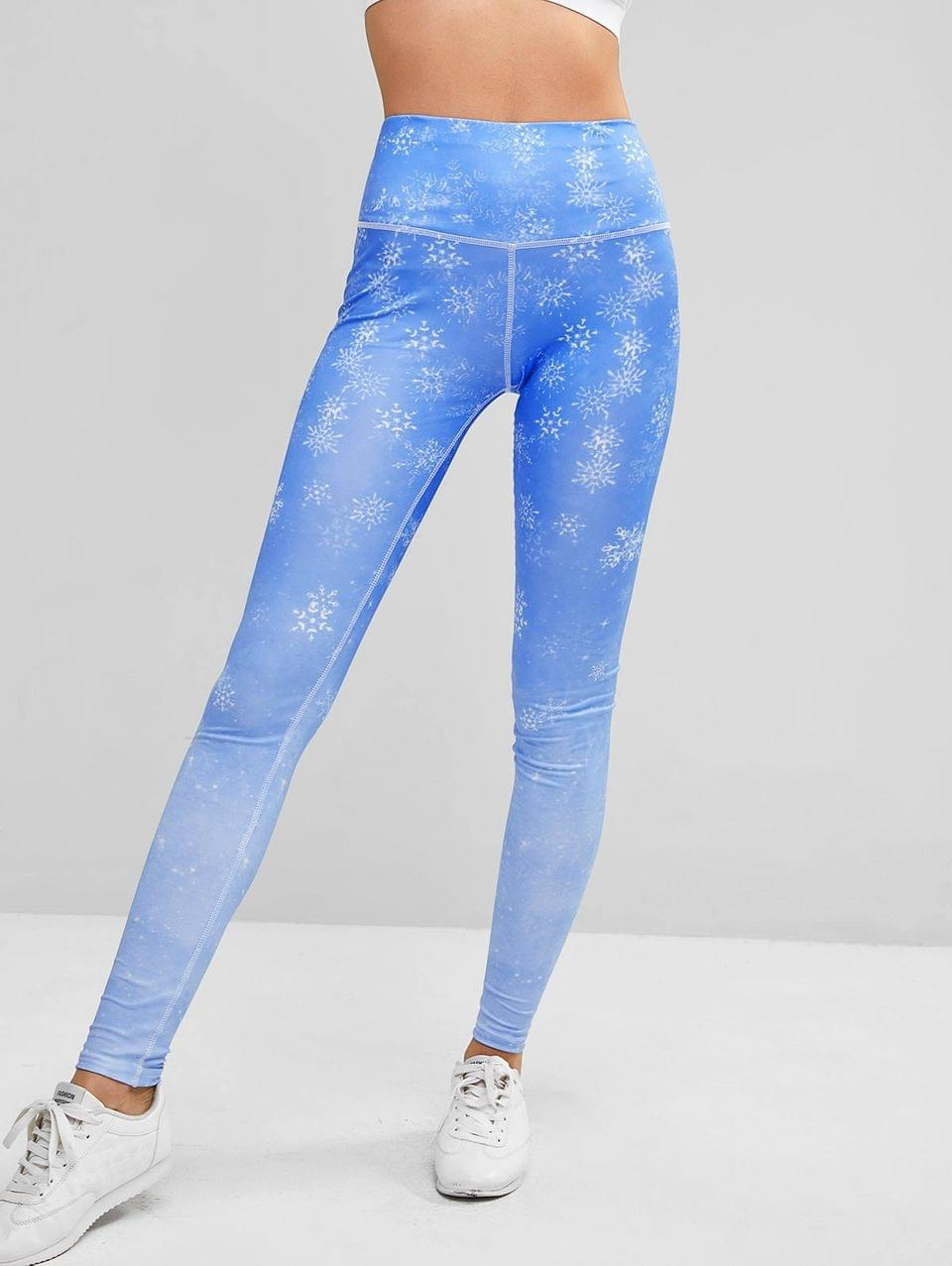 Women's Snowflake Print Wide Waistband Topstitched Gym Leggings - Dodger Blue M