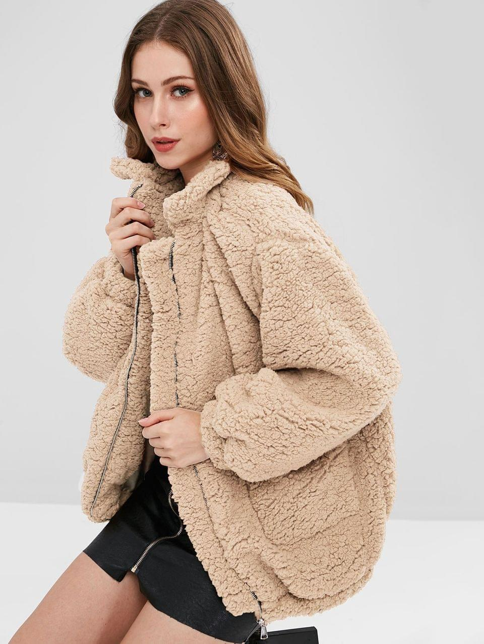 Women's Slip Pockets Faux Fur Teddy Coat - Apricot L