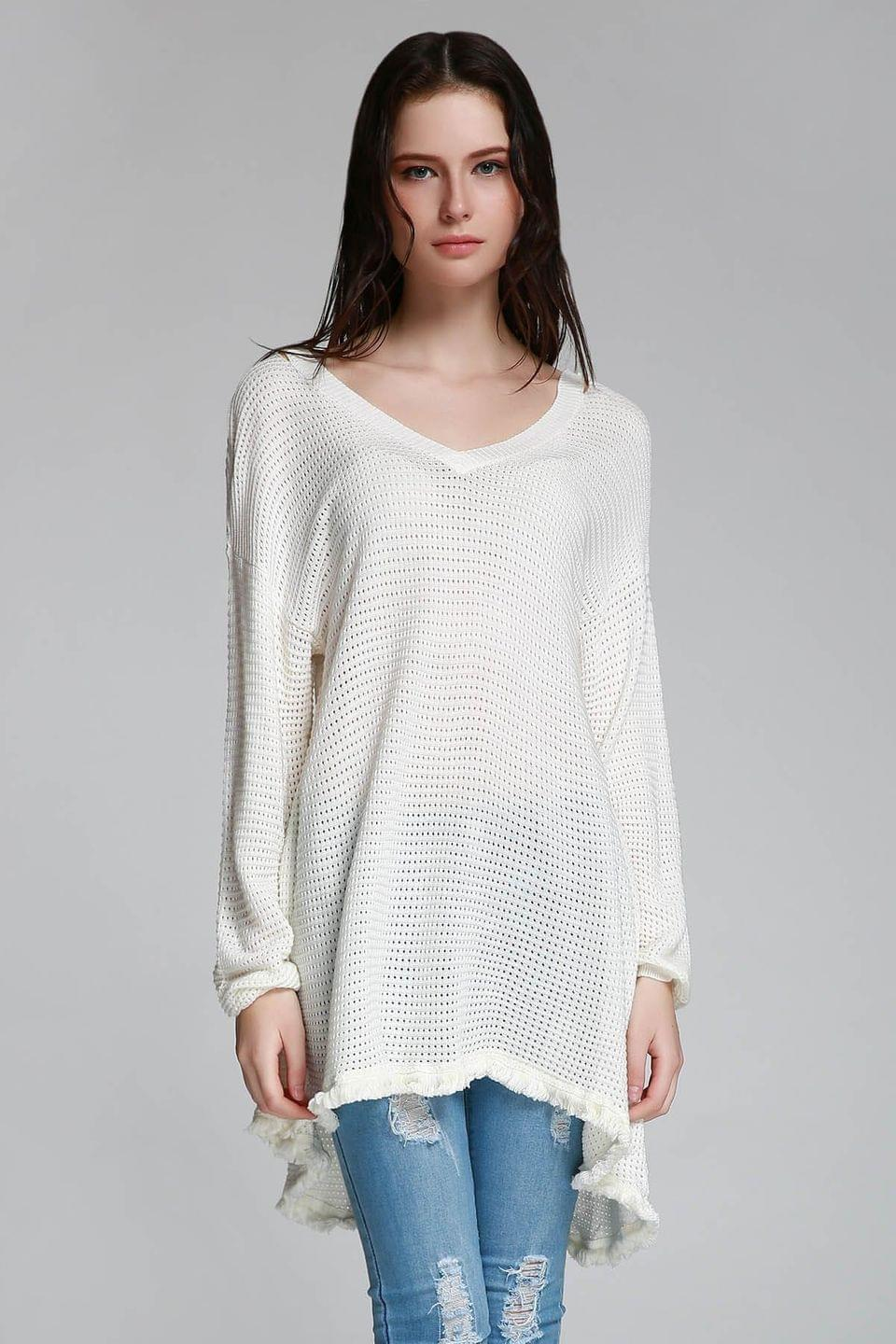 Women's Long Sleeve Cut Out Sweater - White L