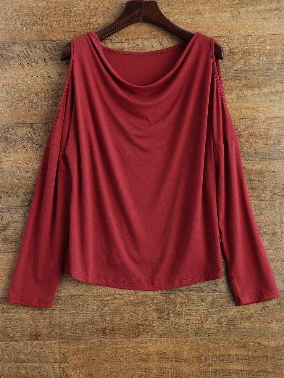 Women's Long Sleeves Cut Out T-Shirt - Red M