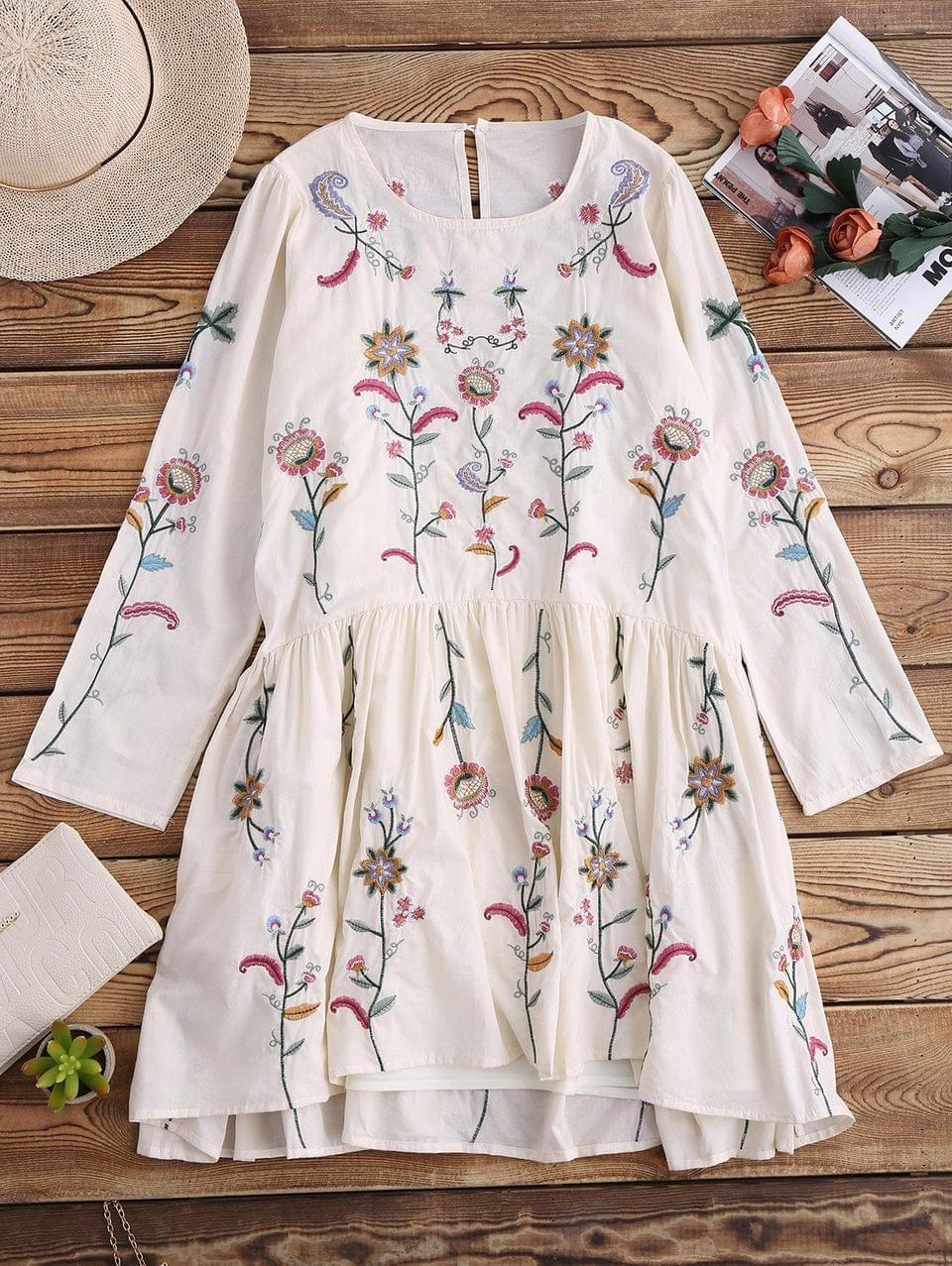 Women's Embroidered Smock Dress With Slip Dress - Off White L