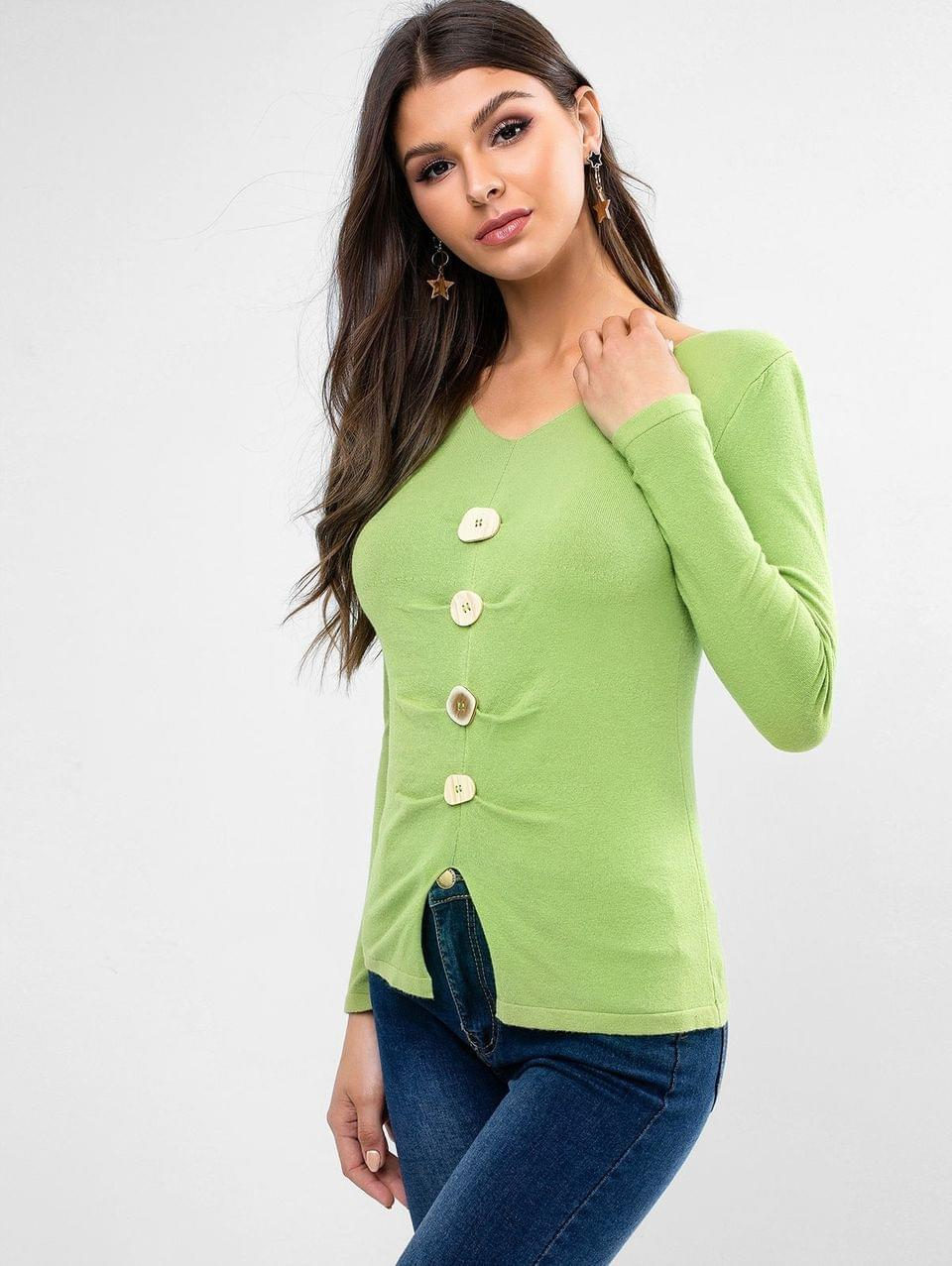 Women's Pullover Mock Button V Neck Sweater - Green Peas