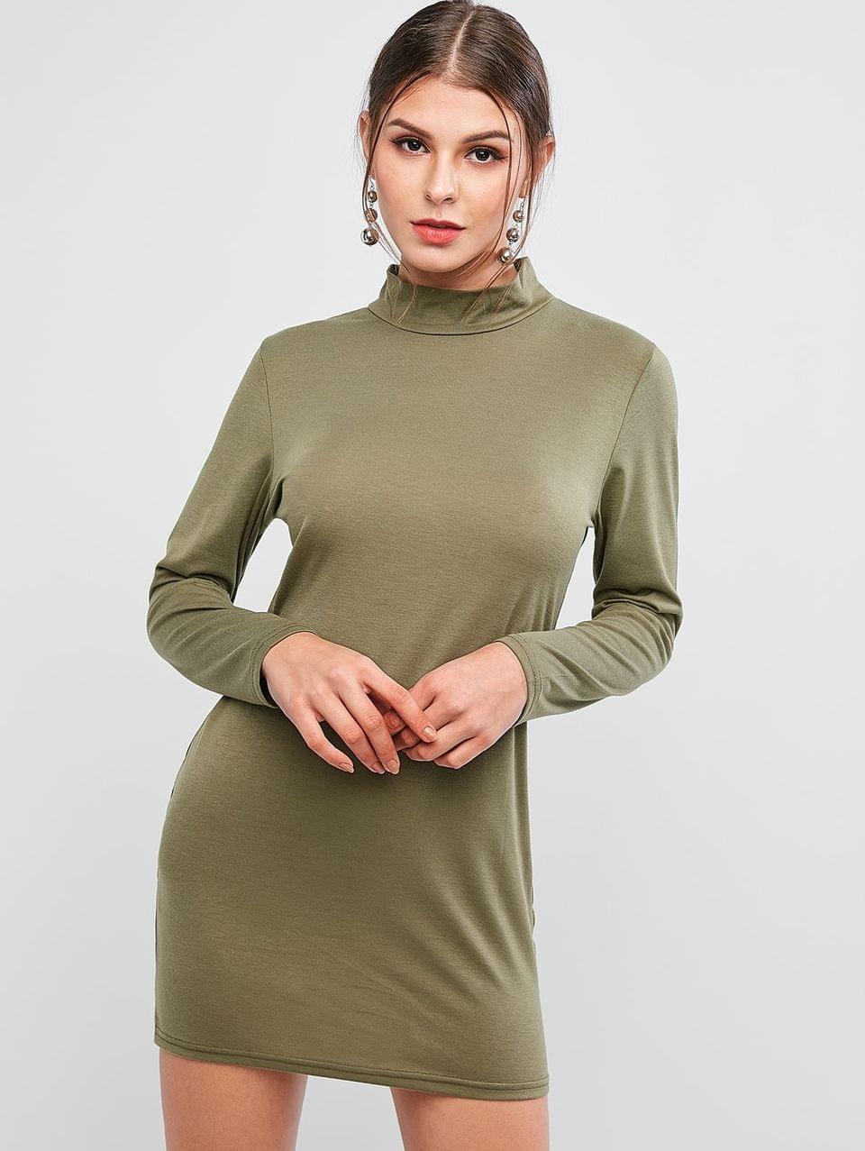 Women's Basic Mock Neck Long Sleeve Bodycon Dress - Camouflage Green Xl