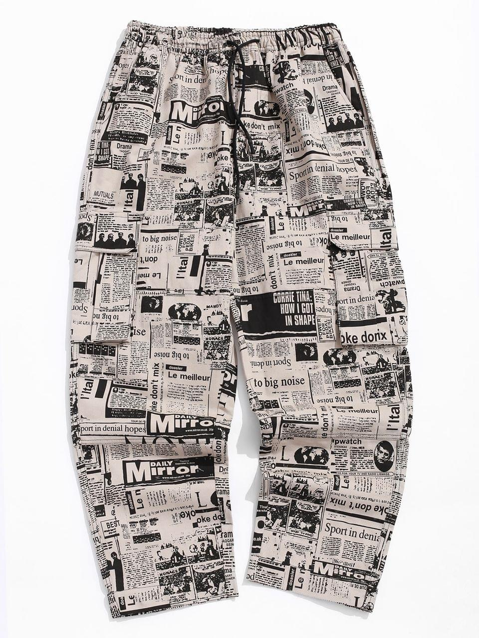 Men's Distressed Newspaper Allover Print Long Straight Pants - Multi-a L