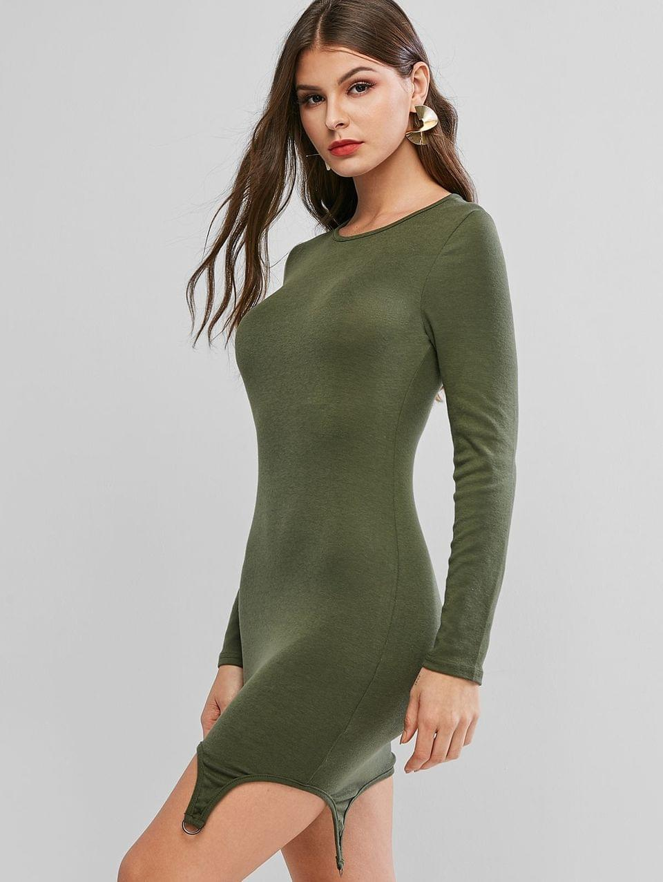 Women's D Ring Long Sleeve Asymmetrical Bodycon Dress - Green L