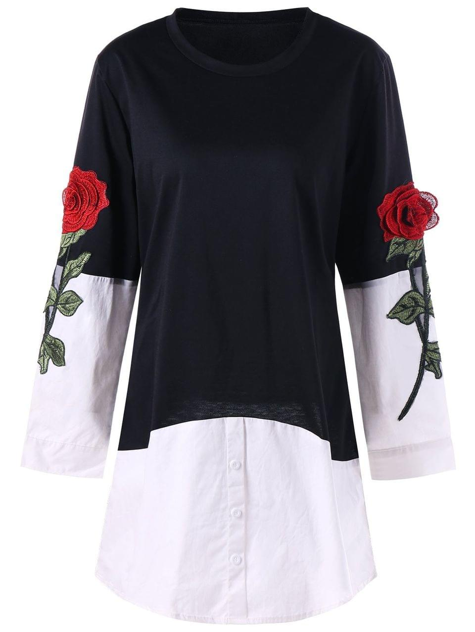 Women's Rose Applique Contrast Shirt Hem Longline Top - Black M